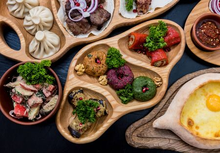 Georgian cuisine food set. Georgian restaurant. Restaurant background Banco de Imagens