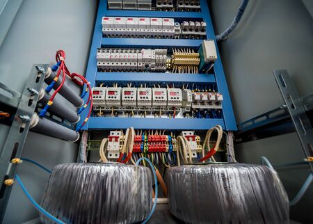 Voltage switchboard with circuit breakers. Electrical background 스톡 콘텐츠