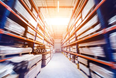 Warehouse industrial company. Commercial warehouse. Crates stacked on the shelves. Industrial background