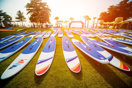 A lot of surfboards on the beach. Summer background Stock Photo
