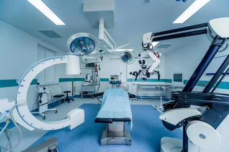Modern equipment in operating room. Medical devices for neurosurgery.