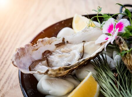 Fresh oysters on a plate with ice and flowers. Restaurant
