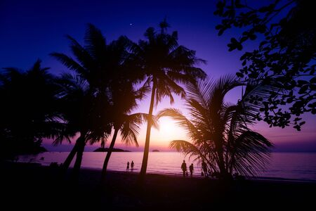 Beautiful sunset at the beach in the tropics. Sky and ocean