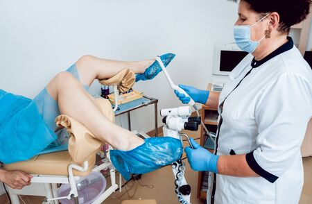 Gynecologist use ultrasound transabdominal and transvaginal wand.