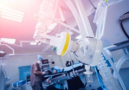 Pré-oxygénation pour anesthésie générale. Matériel de chirurgie. Banque d'images