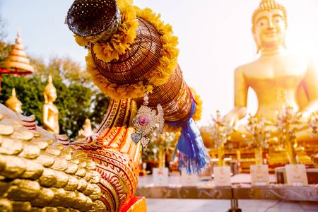 Symbols of Buddhism. South-Eastern Asia. Details of buddhist temple in Thailand.