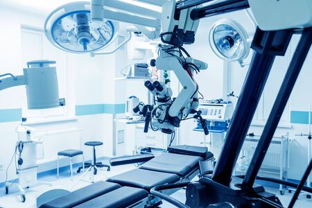 Modern microscope for operations in surgery room at the hospital.