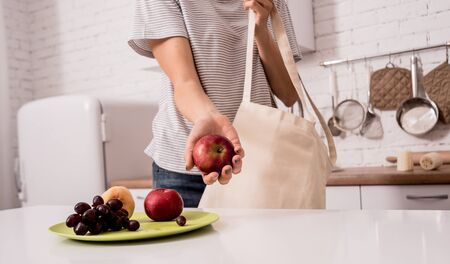 Young girl holding a cloth bag. At the kitchen. I am not plastic. Campaign to reduce the use of plastic bags. Zero waste concept Stok Fotoğraf