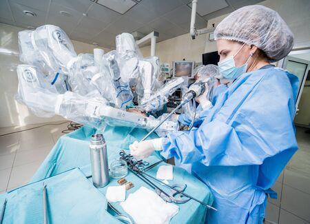 Modern surgical system. Medical robot. Minimally invasive robotic surgery.