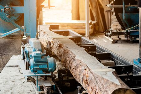 Modern sawmill. Industry sawing boards from logs. Background Stock Photo