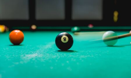 Billiard balls in a pool table. Background.