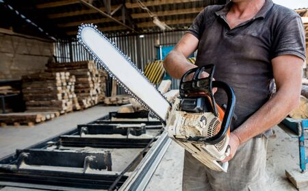 Woodcutter cutting tree with chainsaw on sawmill. Modern sawmill. Industry sawing boards from logs. Background