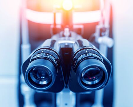Slit lamp and biomicroscope binoculars. Modern ophthalmic equipment.