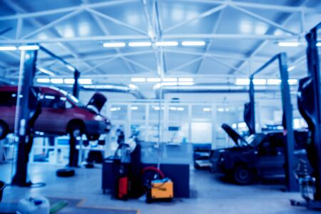 Auto repair service. Auto service background. Blurred background. Archivio Fotografico