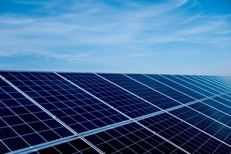 Solar panels, photovoltaic alternative electricity source. Background. Stock Photo