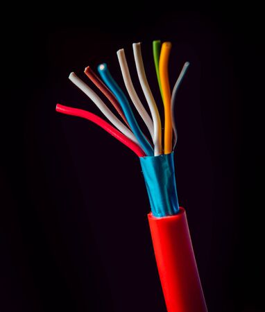 Electrical equipment. Electricity cable. Background and texture
