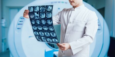Doctor examine MRI picture. Medical equipment. Medical