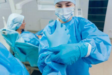Preparation for dental surgery. Modern dental technologies. Dental office