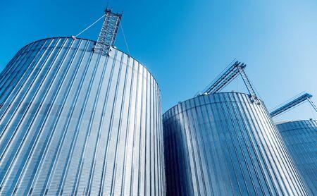 Modern silos for storing grain harvest. Agriculture.