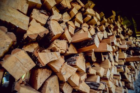 A lot of firewood outdoor. Cross section of the timber. Background 版權商用圖片