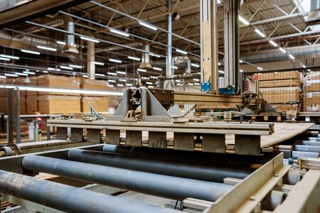 Production line of the wooden floor factory. CNC automatic woodworking machine. Standard-Bild