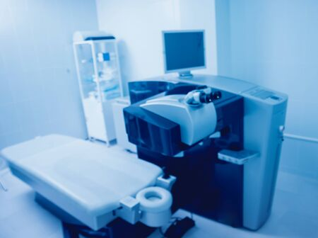 Ophthalmic laser system in eye surgery clinic. Laser treatmnet for myopia Stock Photo