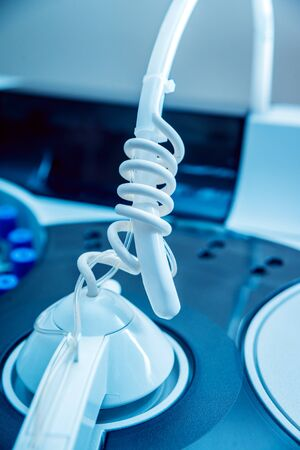 Medical equipment. Biochemistry test. Tubes and containers. Background Standard-Bild