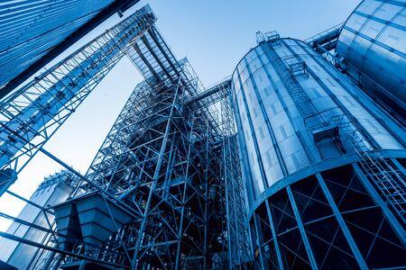 Modern silos for storing grain harvest. Agriculture. Background Stockfoto