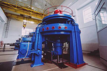 Turbine generators. Hydroelectric power plant. Interior backgorund Standard-Bild