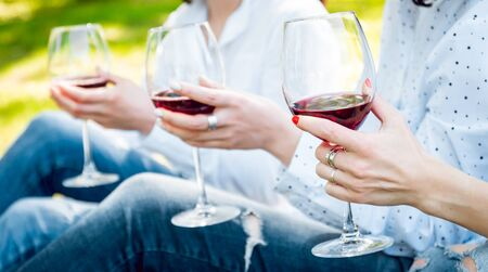 Young beautiful girls with glass of red wine in the park. Nature background