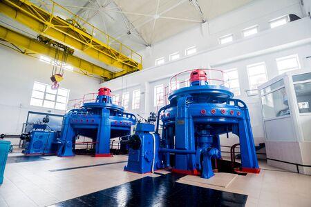 Turbine generators. Hydroelectric power plant and electrical equipment. Standard-Bild