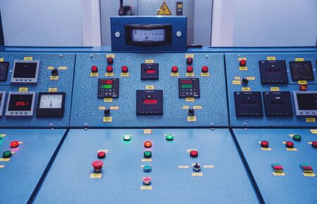 Hydroelectric power plant panel control. Electrical equipment. Stockfoto