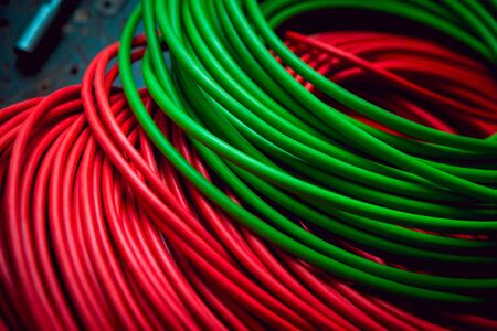 Electrical equipment. Wires and insulation. Background and texture.