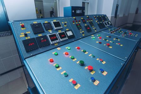 Hydroelectric power plant panel control. Electrical equipment. Фото со стока
