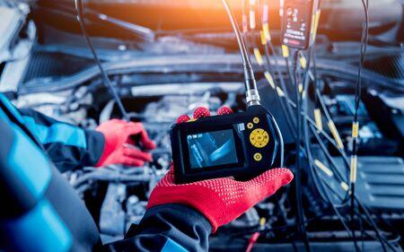 Video investigate. Engine diagnostics. Car repair. Service station