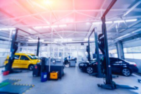 Auto repair service. Blurred background. Auto repair service. Foto de archivo