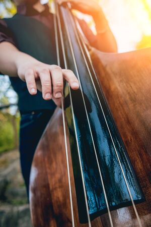 View of musician playing contrabass at the street.
