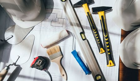 construction tools are on the table. Construction Banque d'images