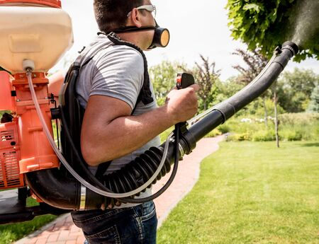 Gardener in protective mask and glasses spraying toxic pesticides trees and bushes. Landscape design. Gardening Banque d'images
