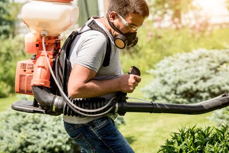 Gardener in protective mask and glasses spraying toxic pesticides trees and bushes. Landscape design. Gardening Stock Photo