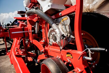 Modern agricultural machinery and equipment. Industrial details. Agricultural exhibition Banque d'images