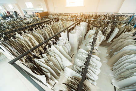 Clothing pattern. Fabric industry production line. Textile factory.