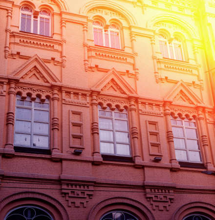 Facade of the historic building. Cental Europe style. Background Zdjęcie Seryjne