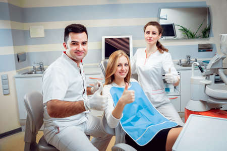 Young woman at the dental office. Medical equipment.