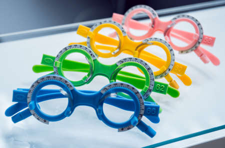 Trial frame of test glasses. Modern equipment. 写真素材