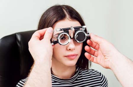 Slit lamp examination. Biomicroscopy of the anterior eye segment. 写真素材