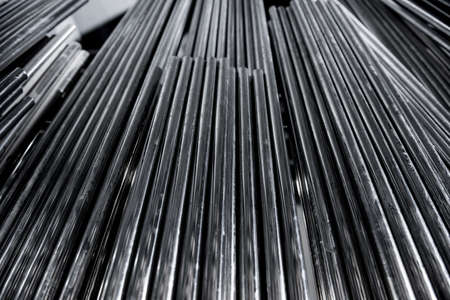 Abstract background of steel pipes stacked on a pallet