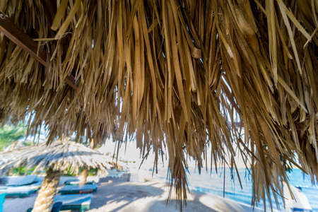 Palm dry leaves as the roof at the beach umbrella