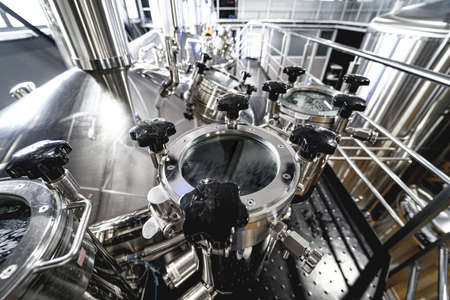 Craft beer brewing equipment in privat brewery Stock Photo