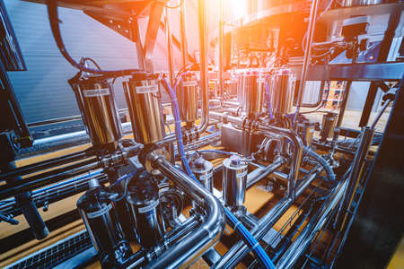 Pipes and fittings at a craft modern brewery